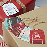 Ginger Ray Christmas Jumper Vintage Gift Tags / Labels with twine x12 - Vintage Noel