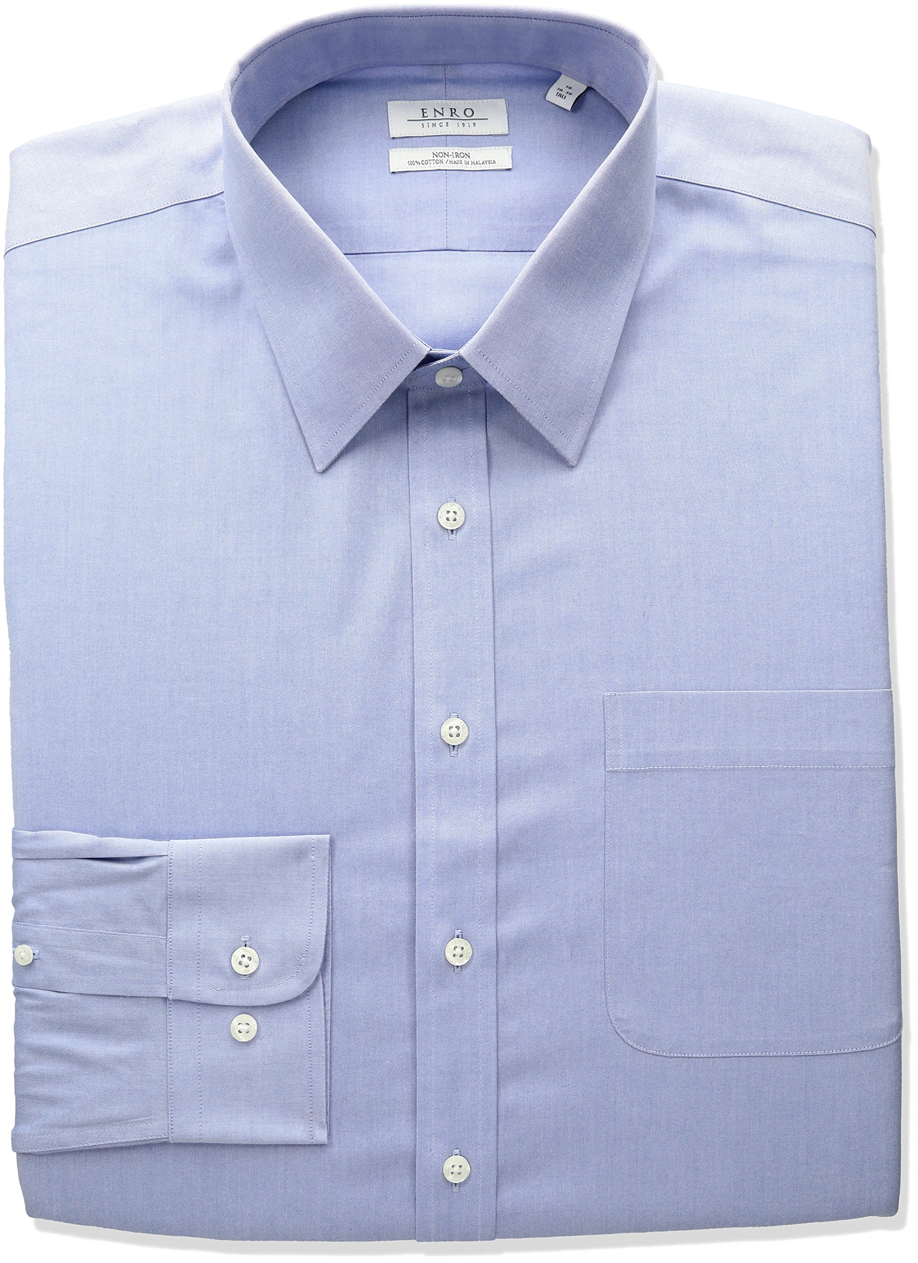 Enro Men's Classic Fit Big-Tall Solid Point Collar Dress Shirt, Light Blue 17.5'' Neck 38''-39'' Sleeve