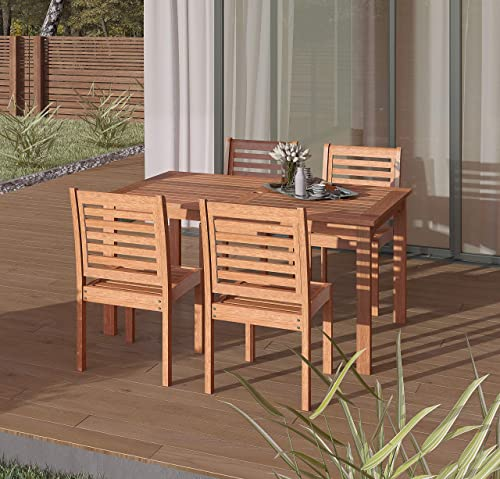 Amazonia Derby 5-Piece Patio Armless Rectangular Dining Set