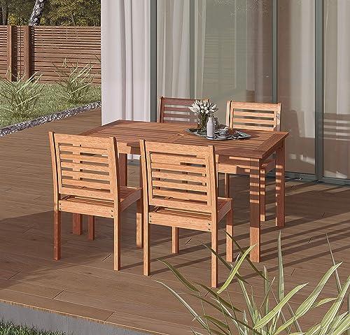 Amazonia Derby 5-Piece Patio Armless Rectangular Dining Set | Eucalyptus Wood | Ideal