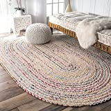 nuLOOM Hand Braided Bohemian Colorful Cotton Oval Rug, Ivory, 5' x 8'