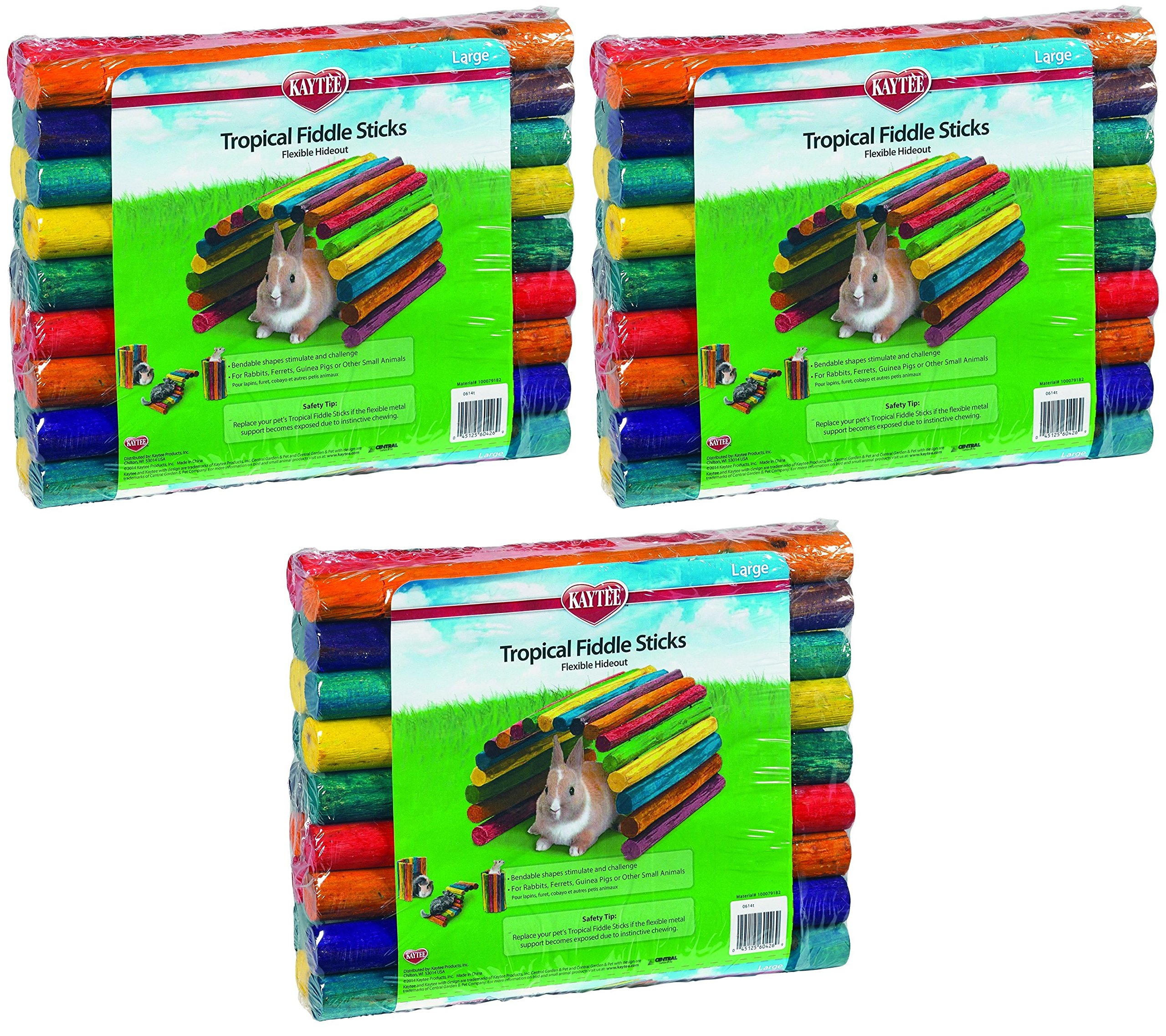 (3 Pack) Kaytee Tropical Fiddle Sticks Hideout, Size Large by Kaytee (Image #1)