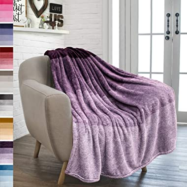 PAVILIA Flannel Fleece Luxury Throw Blanket | Lightweight Soft Microfiber Gradient Ombre Blanket | Decorative Velvet Throw for Couch Sofa Bed | All Season Use | 50 x 60 Inches Purple