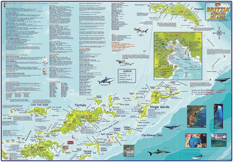 Amazoncom British Virgin Islands BVI Dive Map Laminated Poster By