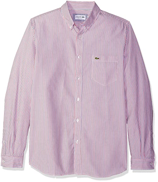 afc9e92a19 Lacoste Men's Long Sleeve Regular Fit Button Down Oxford Bengal ...