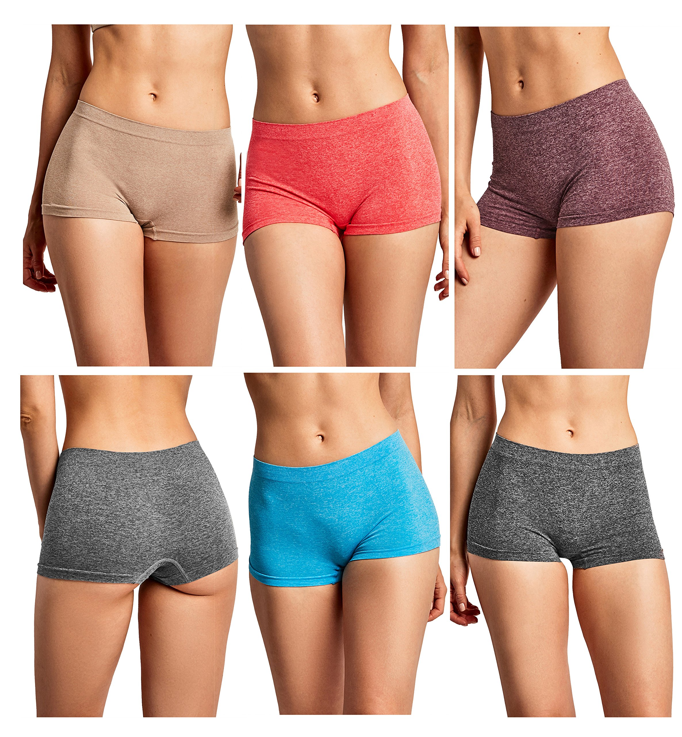 Gilbins Women Seamless Stretch Boy Shorts Panties Various Styles (Heather 1)