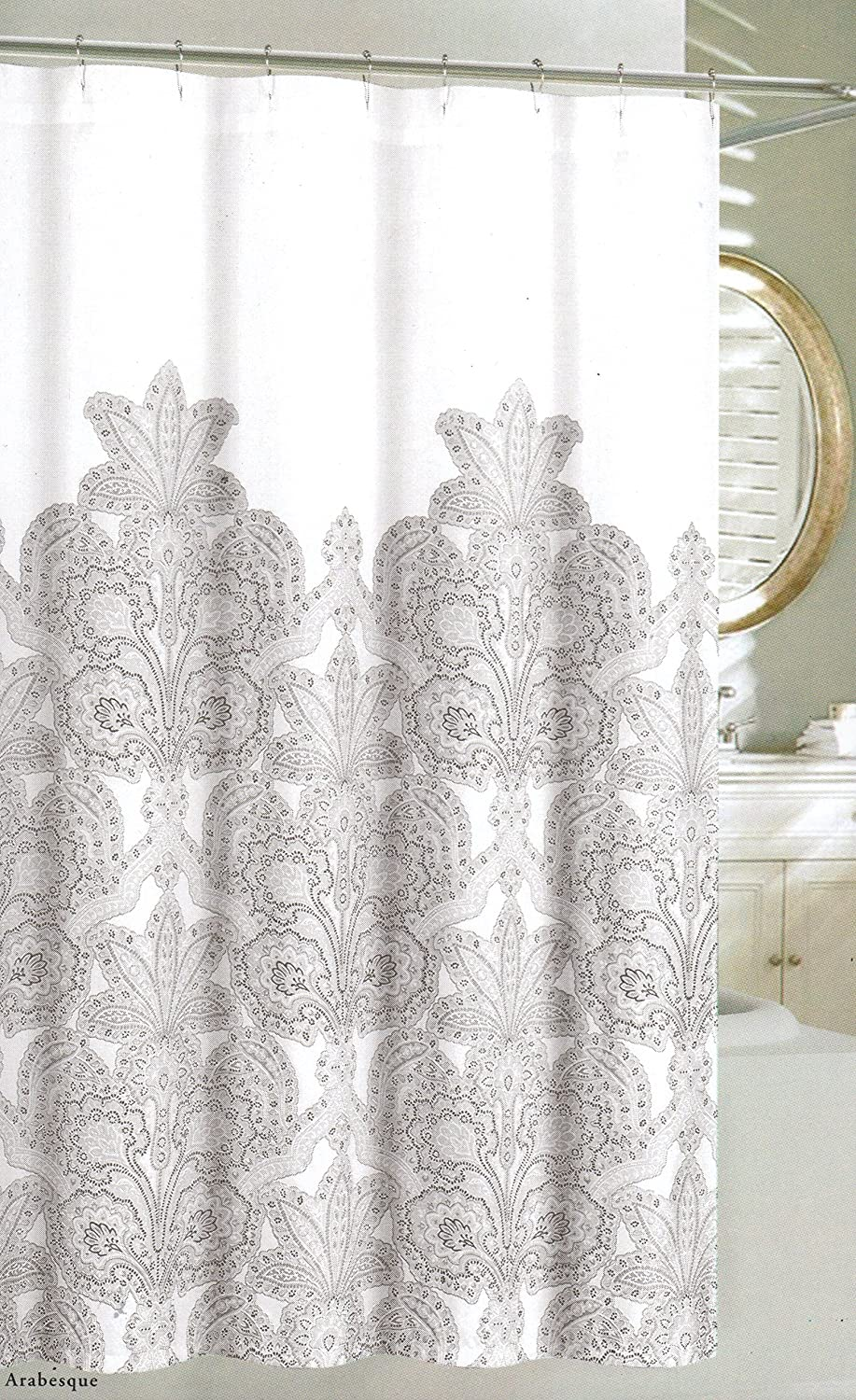 Nicole Miller Home Fabric Shower Curtain Grey Floral Lace Medallions ...