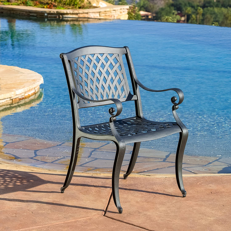 Amazon.com: Best Selling Home Decor 5 Piece Gaffey Cast Aluminum Outdoor  Dining Set, Black Sand: Garden U0026 Outdoor Part 78