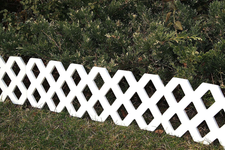weiß Holzoptik 2,36 m Rasenkante Beeteinfassung Zierzaun Garten Beet Zaun 4 tlg