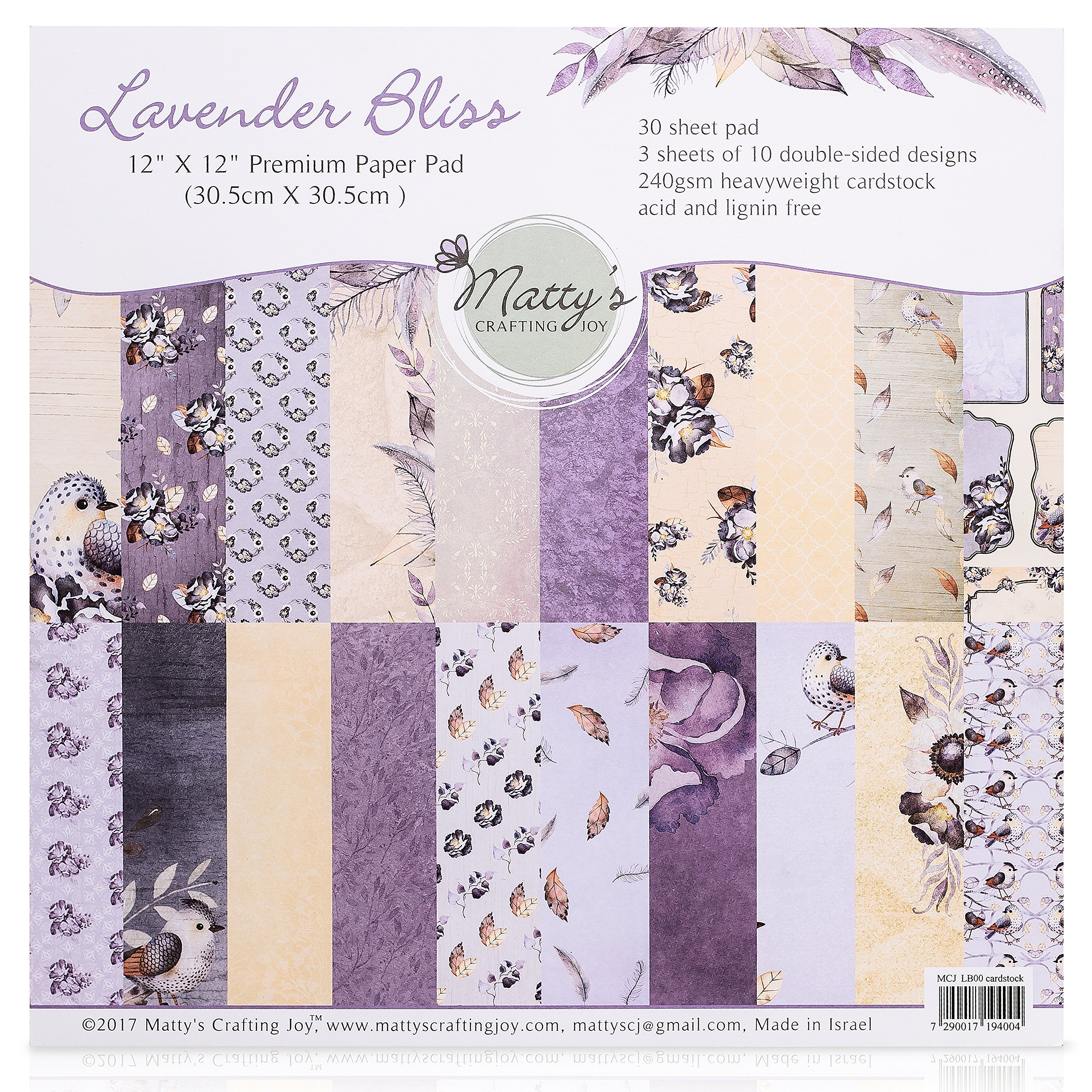 Matty's Crafting Joy Lavender Bliss - 12x12 Double Sided Scrapbook Cardstock Paper Pad, 30 Floral Designer Premium Patterned Heavyweight Paper Pack by Matty's Crafting Joy