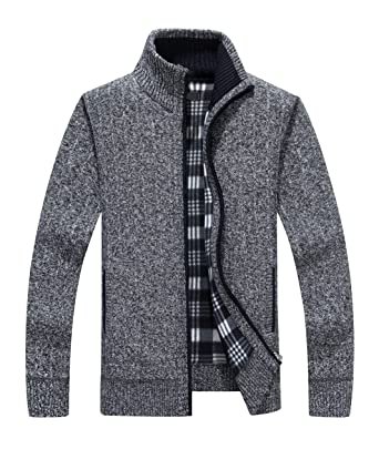 ca5e9c8d78664 Yeokou Men s Casual Slim Fit Full Zip Thick Knit Cardigan Sweaters Pockets  (XX-Large