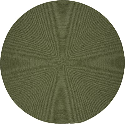 Solid Round Rug, 8-Feet, Olive