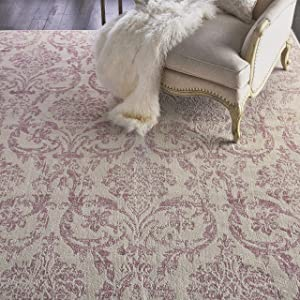 Nourison Jubilant 9'x12' White Area Rug, 8 Feet 6 Inch x 12 Feet, Ivory/Pink