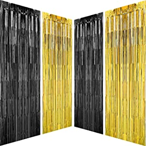 Black Gold Party Tinsel Foil Fringe Curtains - Bachelorette Wedding Graduation New Years Wild One 1920s Birthday Baby Shower Party Decor Photo Booth Backdrops Decorations, 4pc