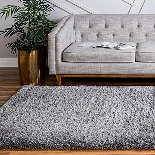Infinity Collection Solid Shag Area Rug by Rugs.com Smoke 8 x 10 High-Pile Plush Shag Rug Perfect for Living Rooms, Bedrooms, Dining Rooms and More