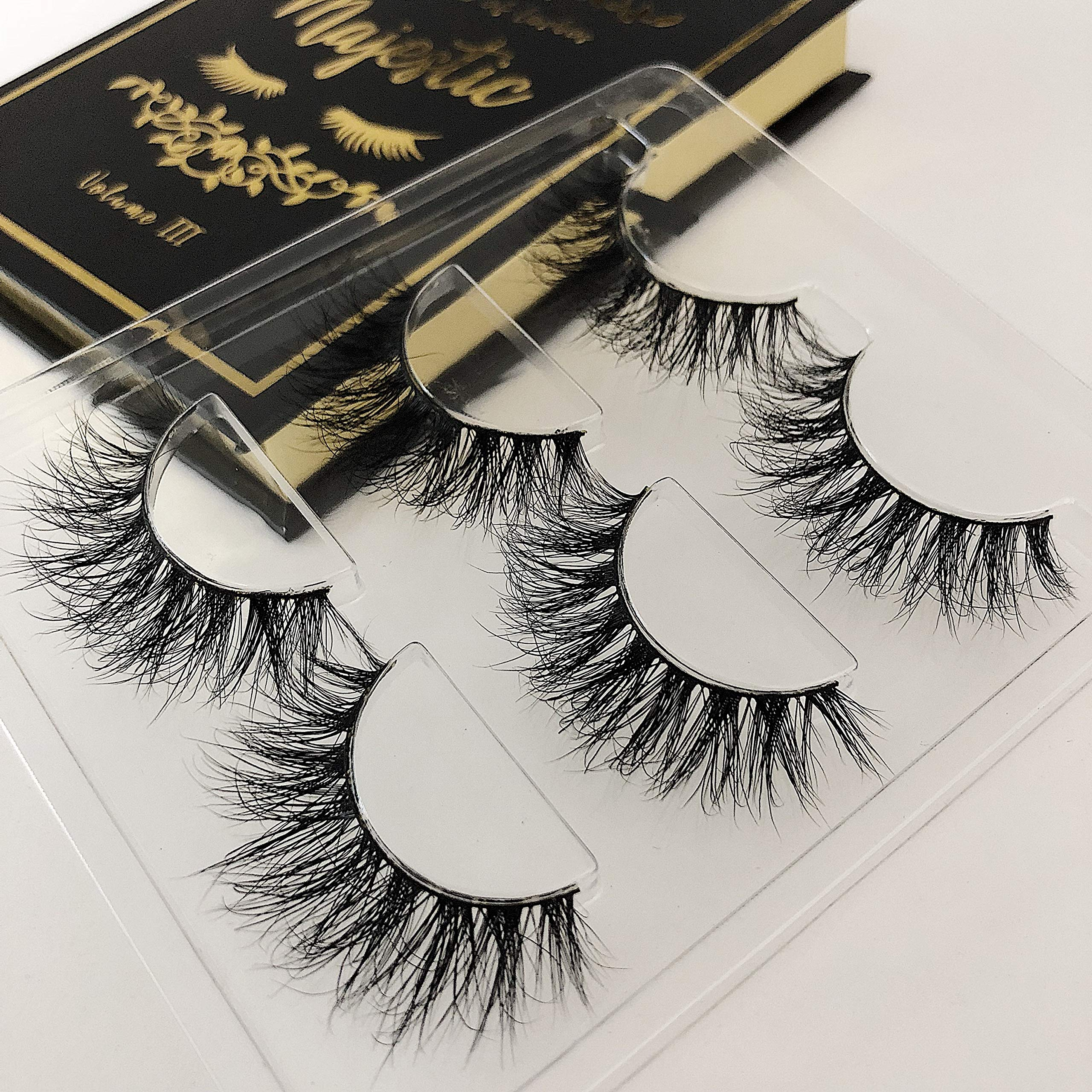 The Book of Lashes Volume 3: Majestic - Real Mink - Reusable False Eyelashes - Cruelty Free - 3 Pairs