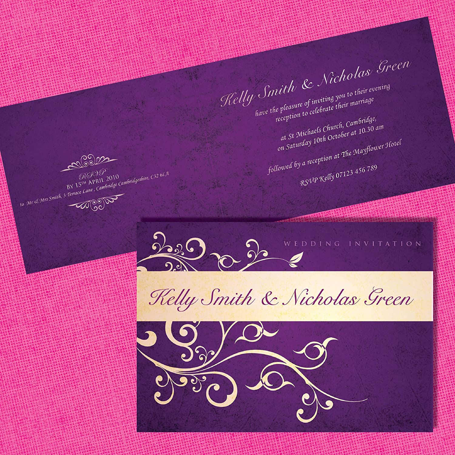 Personalised Wedding Invitations *Cadbury Purple & Ivory Floral ...
