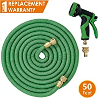 ANSIO Expandable Garden Hose Pipe with Brass Connectors, Polyester Fabric Outer Layer & 9 Function Spray, Flexible Anti-Kink for Home, Garden