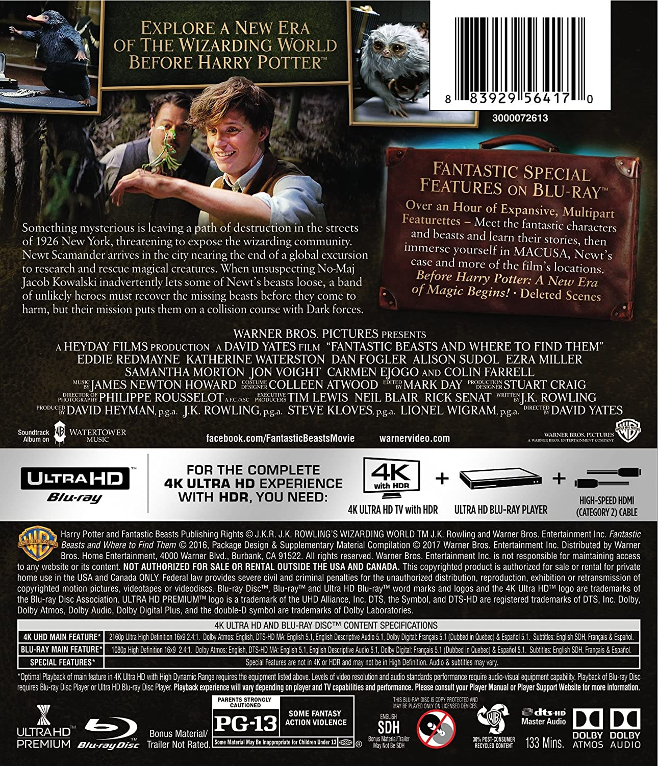 Amazon com: Fantastic Beasts and Where to Find Them (4K
