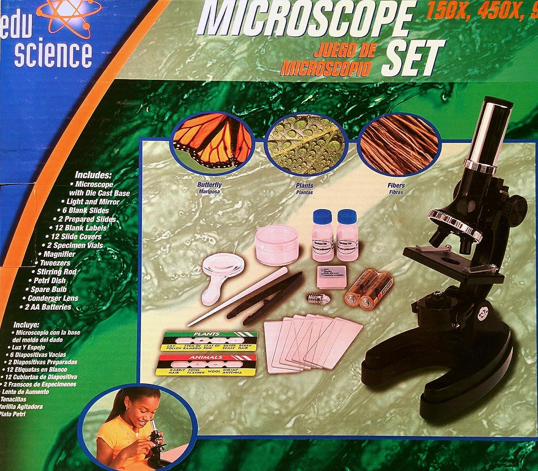 Amazon.com: Edu Ciencia Microscopio Set 150 x, 450 x, 900 x ...