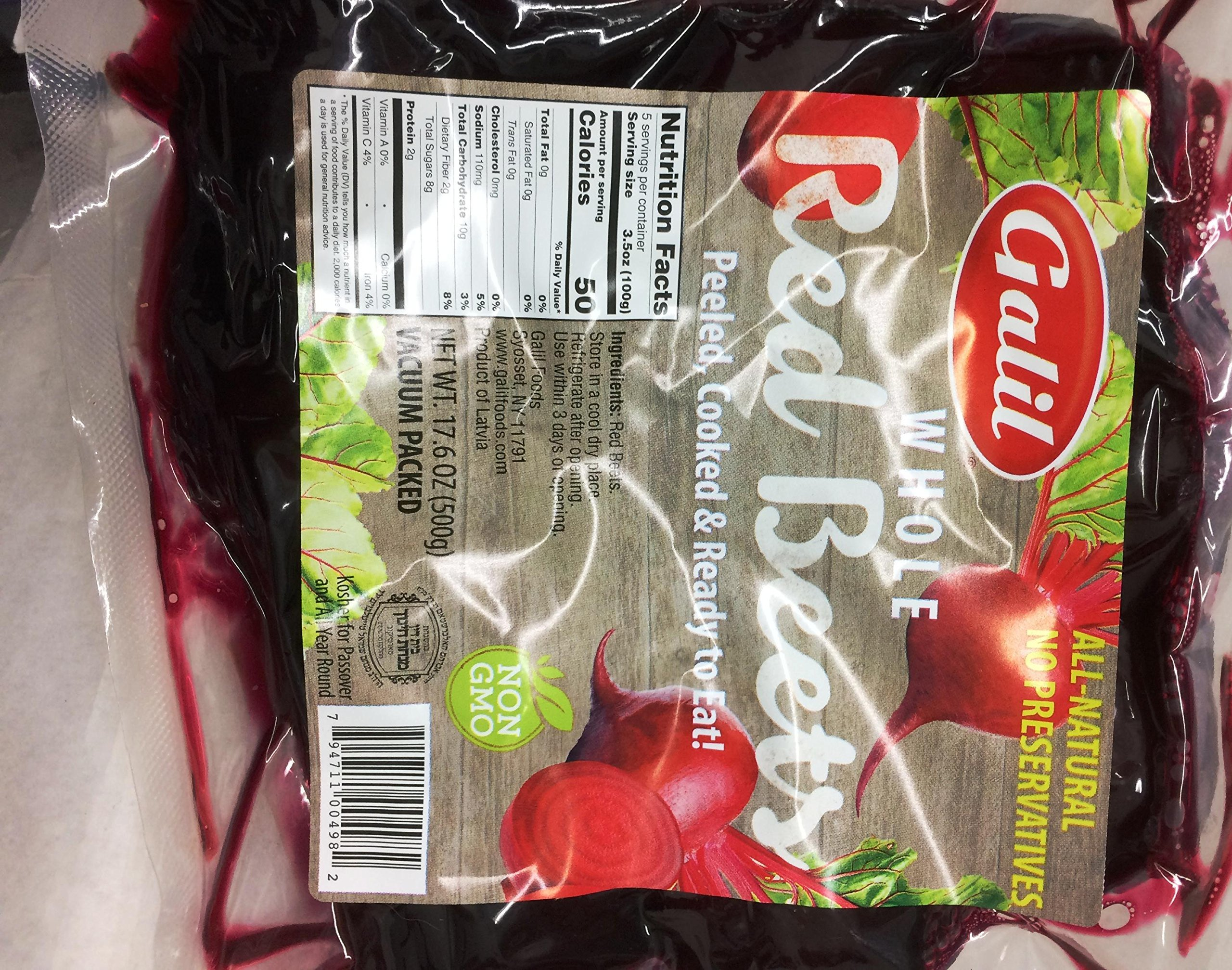 Galil Whole Red Beets Non Gmo Kosher For Passover 17.6 Oz. Pack Of 3.