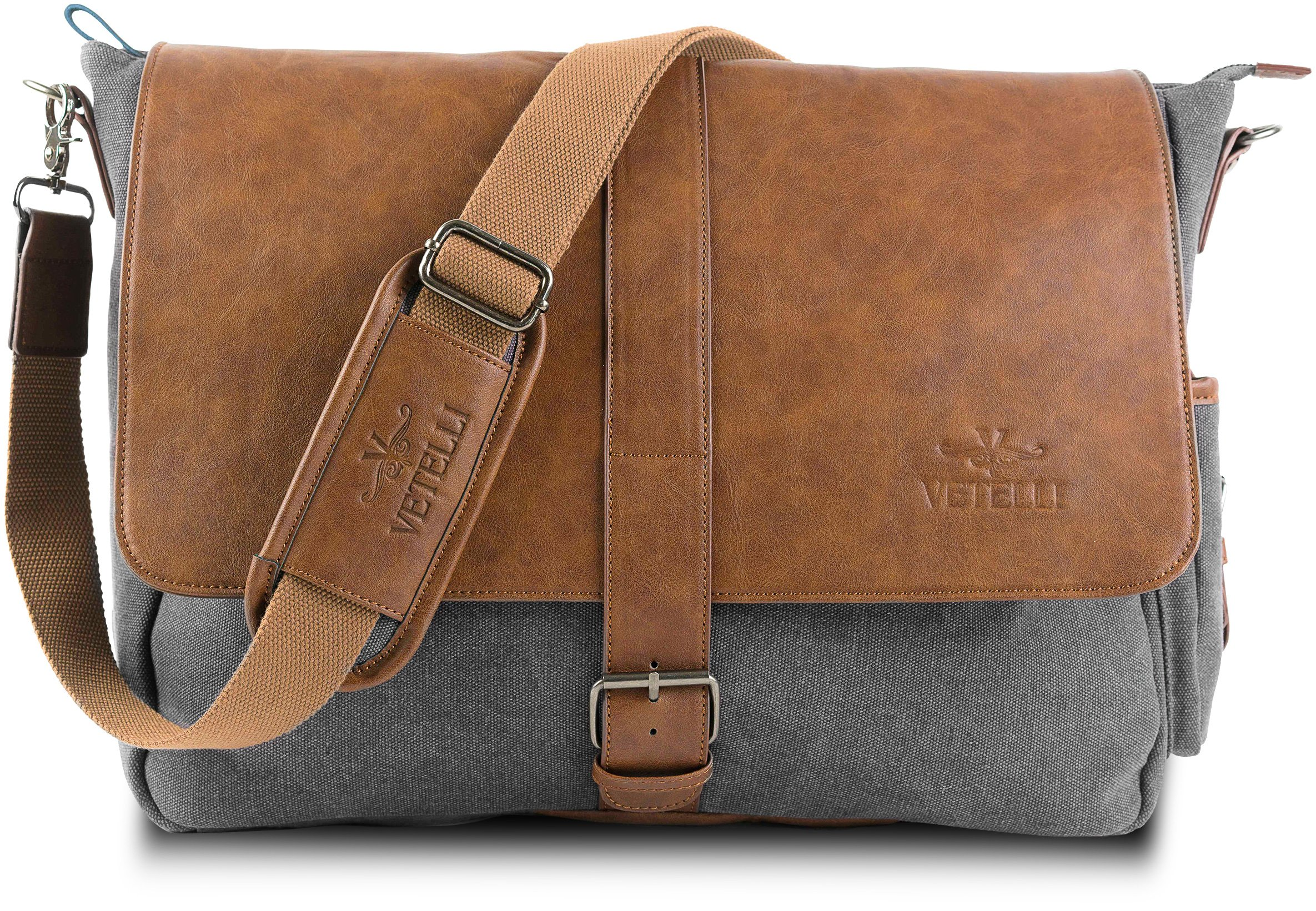 """Vetelli Laptop Bag / Laptop Messenger Bag with ScratchProtect sleeve for Computers up to 15.6"""" (Leather + Canvas) - Bag Dimensions: 19.5"""" x 12.5"""" x 4.5"""""""