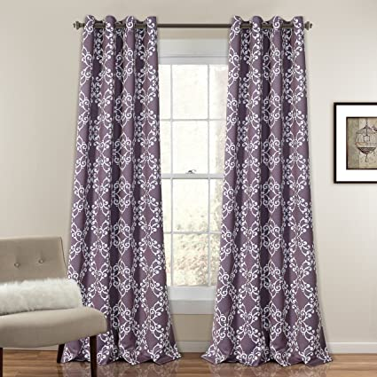 MYSKY HOME Purple Curtains For Girls Bedroom By Moroccan Floral Print  Design Thermal Insulated Blackout Drapes