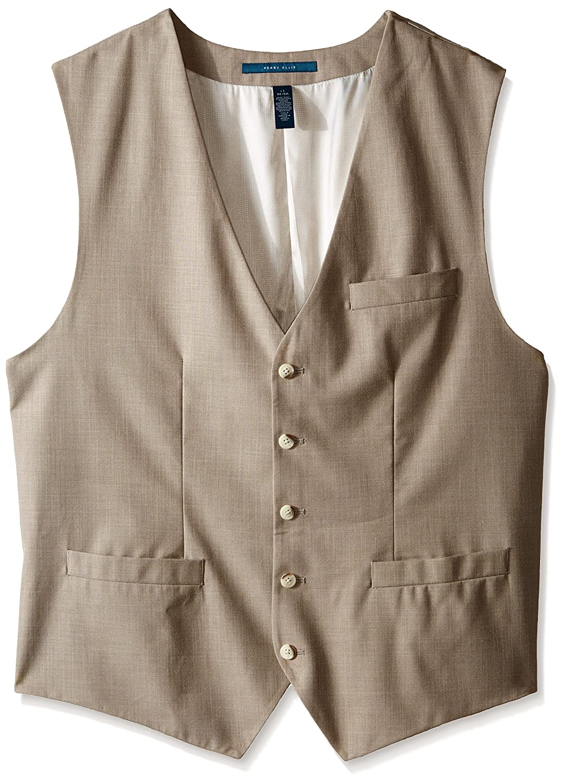 Perry Ellis Men's Big-Tall Solid Texture Suit Vest Natural Linen X-Large/Tall 4AHV3601