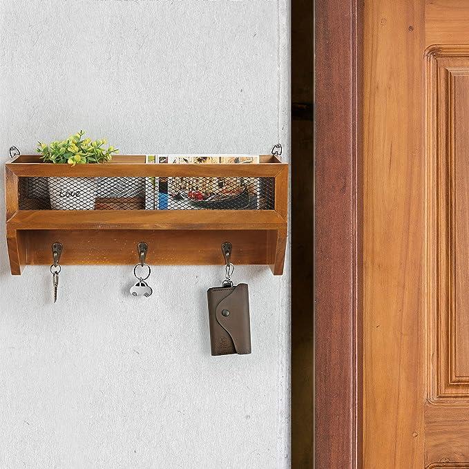 Amazon.com: Perchero de pared rústico de madera y ...