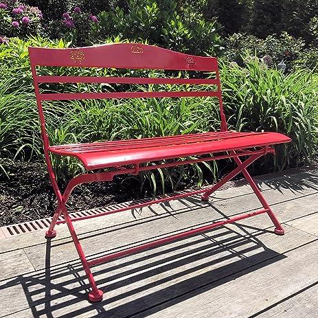 The Farmeru0027s Market Childrenu0027s Red Garden Bench, Folding, Slatted Seat With  Mushroom Decorated Back