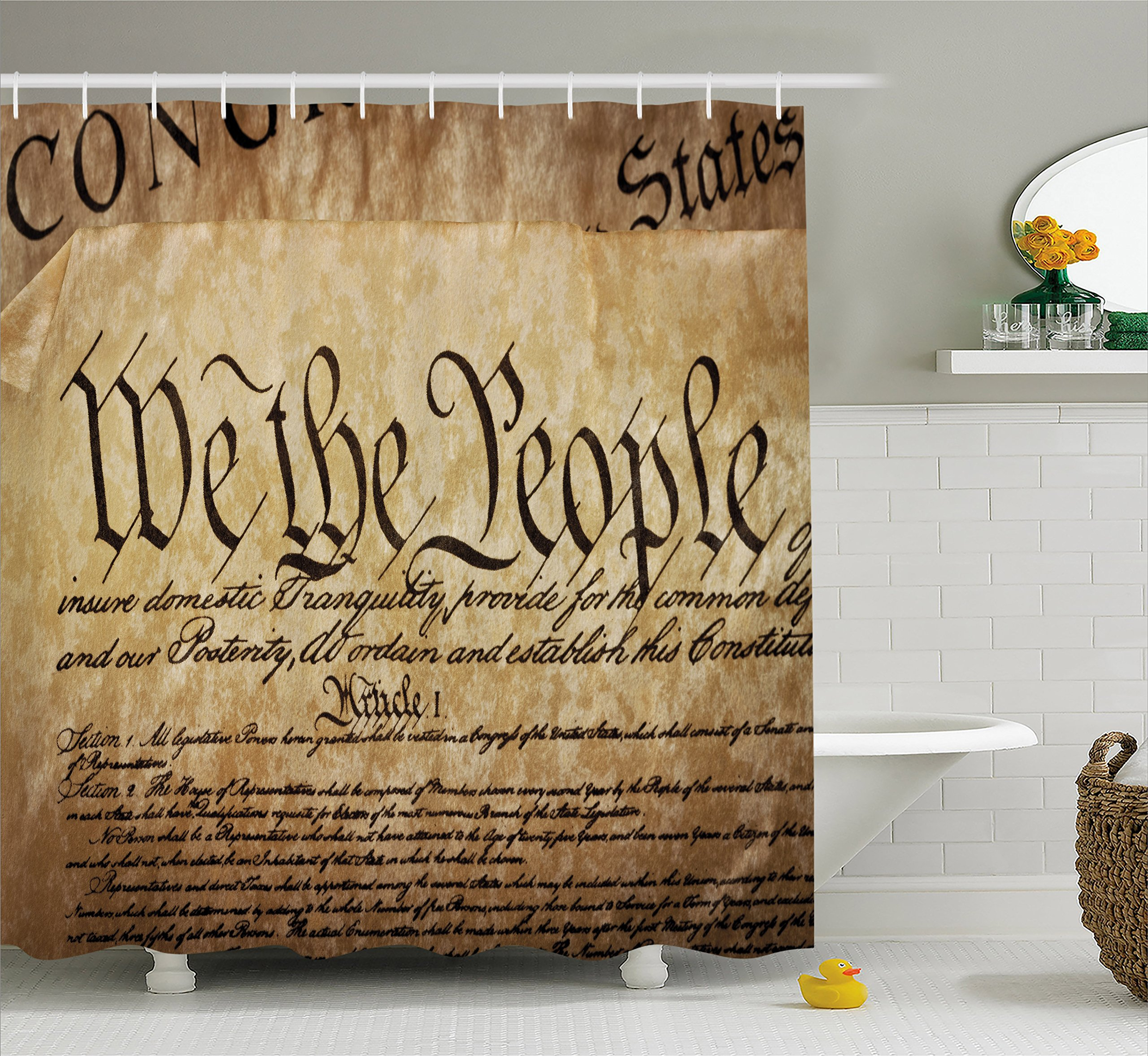 Ambesonne United States Shower Curtain, Vintage Constitution Text of America National Glory Fourth of July Image, Fabric Bathroom Decor Set with Hooks, 70 inches, Light Brown