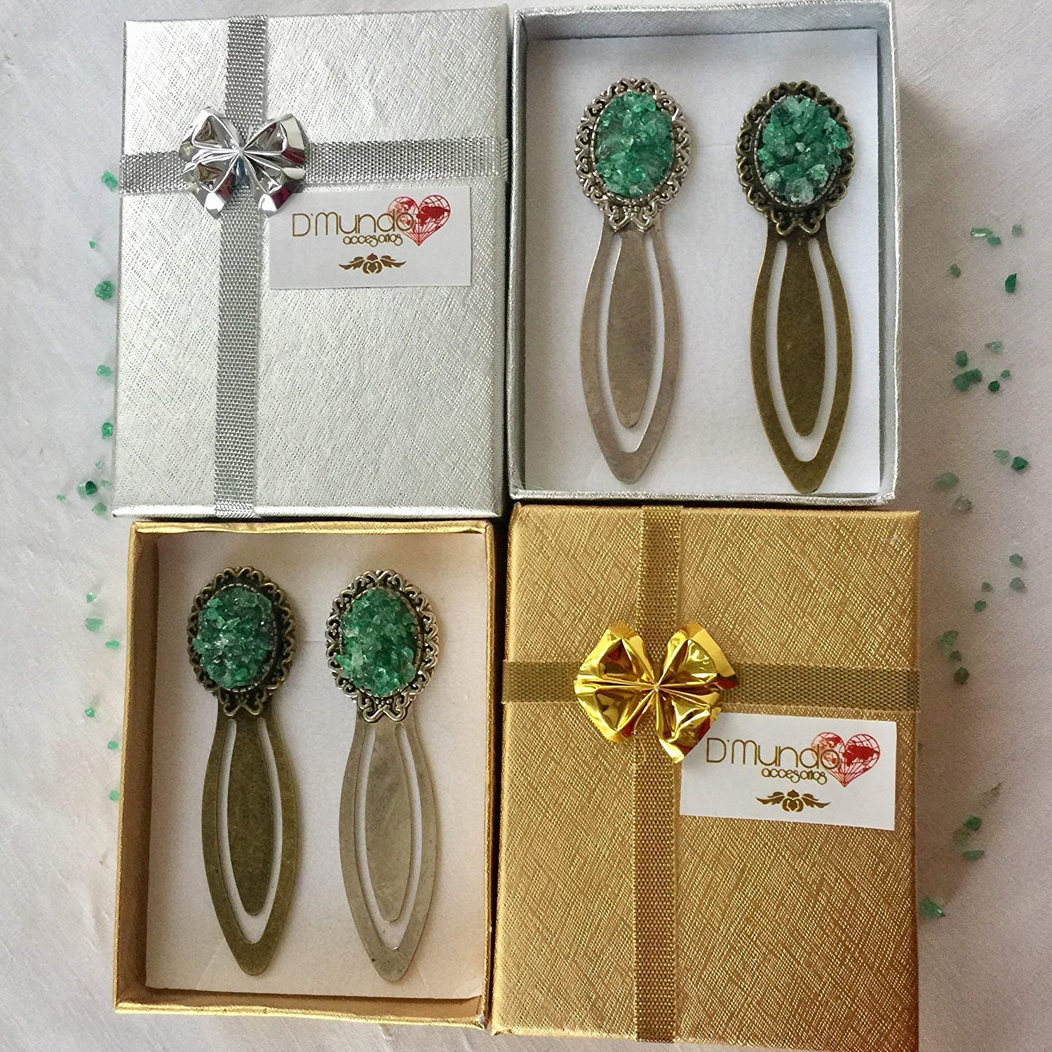 Bookmark Set with Raw Colombian Emeralds Hope and Love Antique Bronze and Antique Silver Bookmarks Set. Fathers Day Gift Vintage Bookmarks by DMundo Accesorios