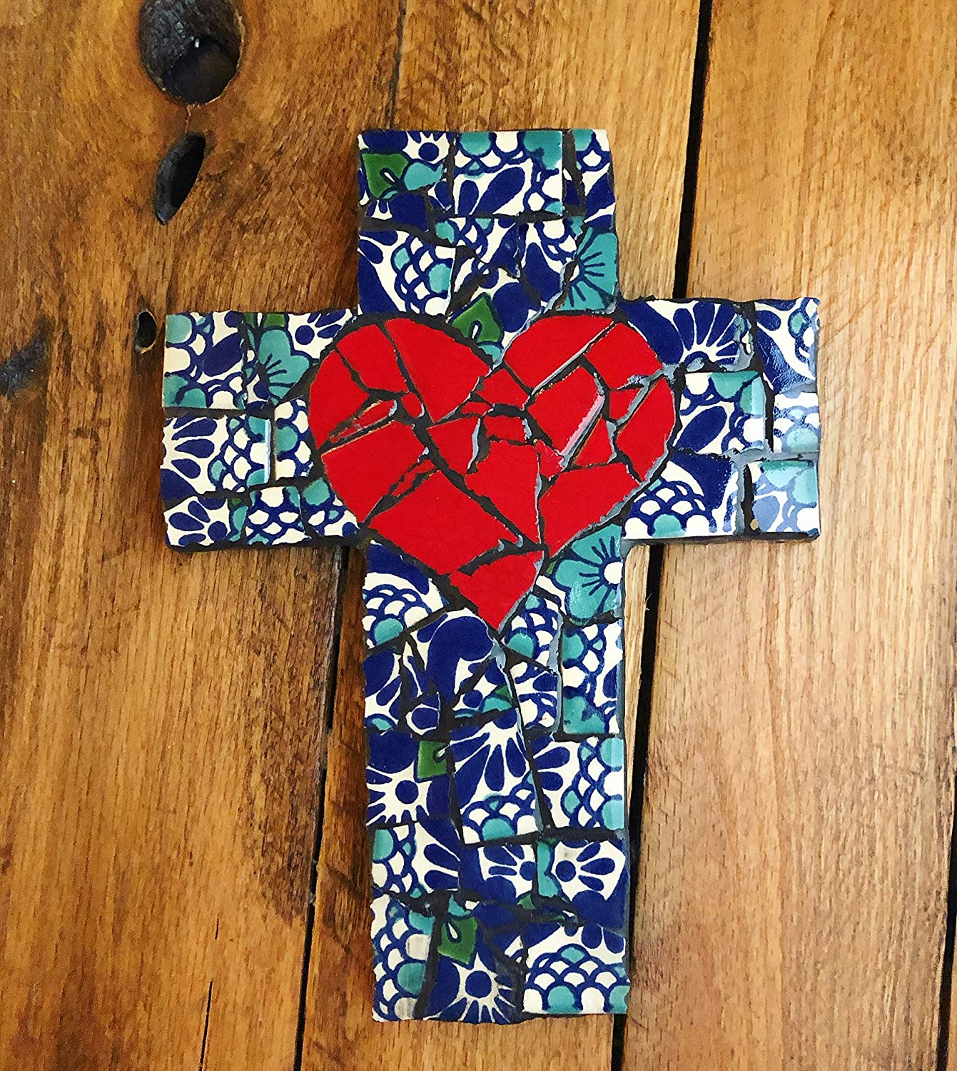 Mexican Tile Talavera Mosaic Wall Cross Assorted Blue with Red Heart