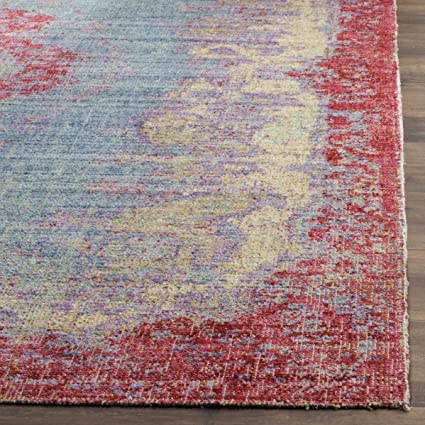 3 x 12 Safavieh Windsor Collection WDS305A Light Blue and Fuchsia Vintage Distressed Bohemian Runner