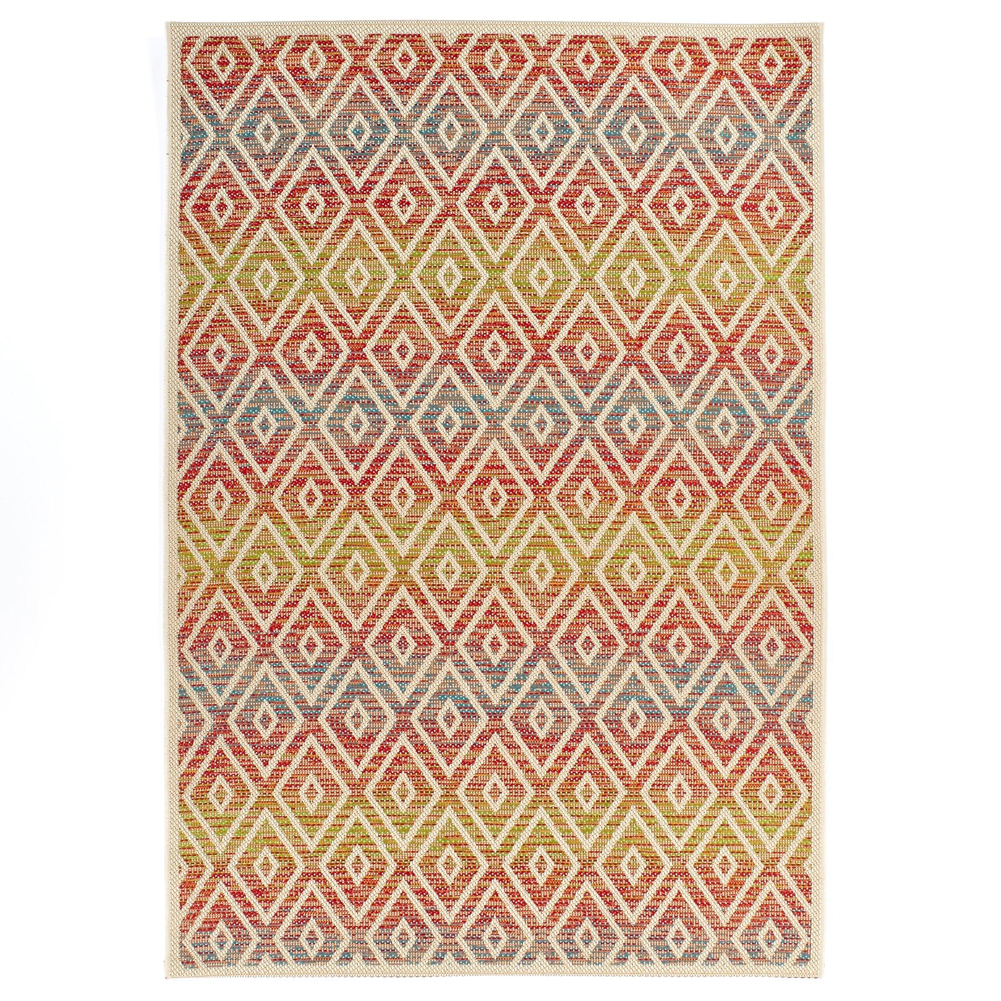Carpet Art Deco Bellaire Collection Indoor Outdoor Rug, 5'3'' x7'5, Red/Blue/Green