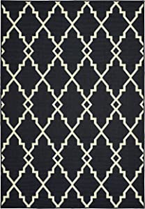 Christopher Knight Home Maitland Lattice Indoor/Outdoor Area Rug, 2ft 3in X 7ft 6in, Black,Ivory