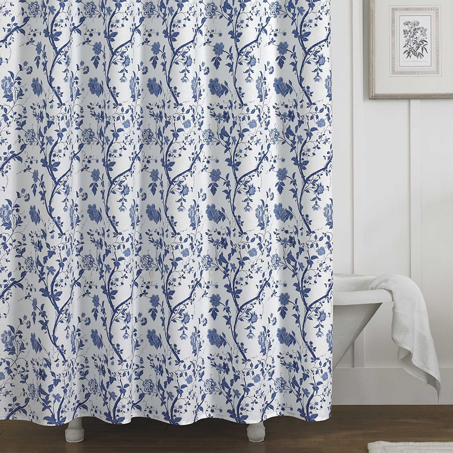Laura Ashley Charlotte Shower Curtain, Blue