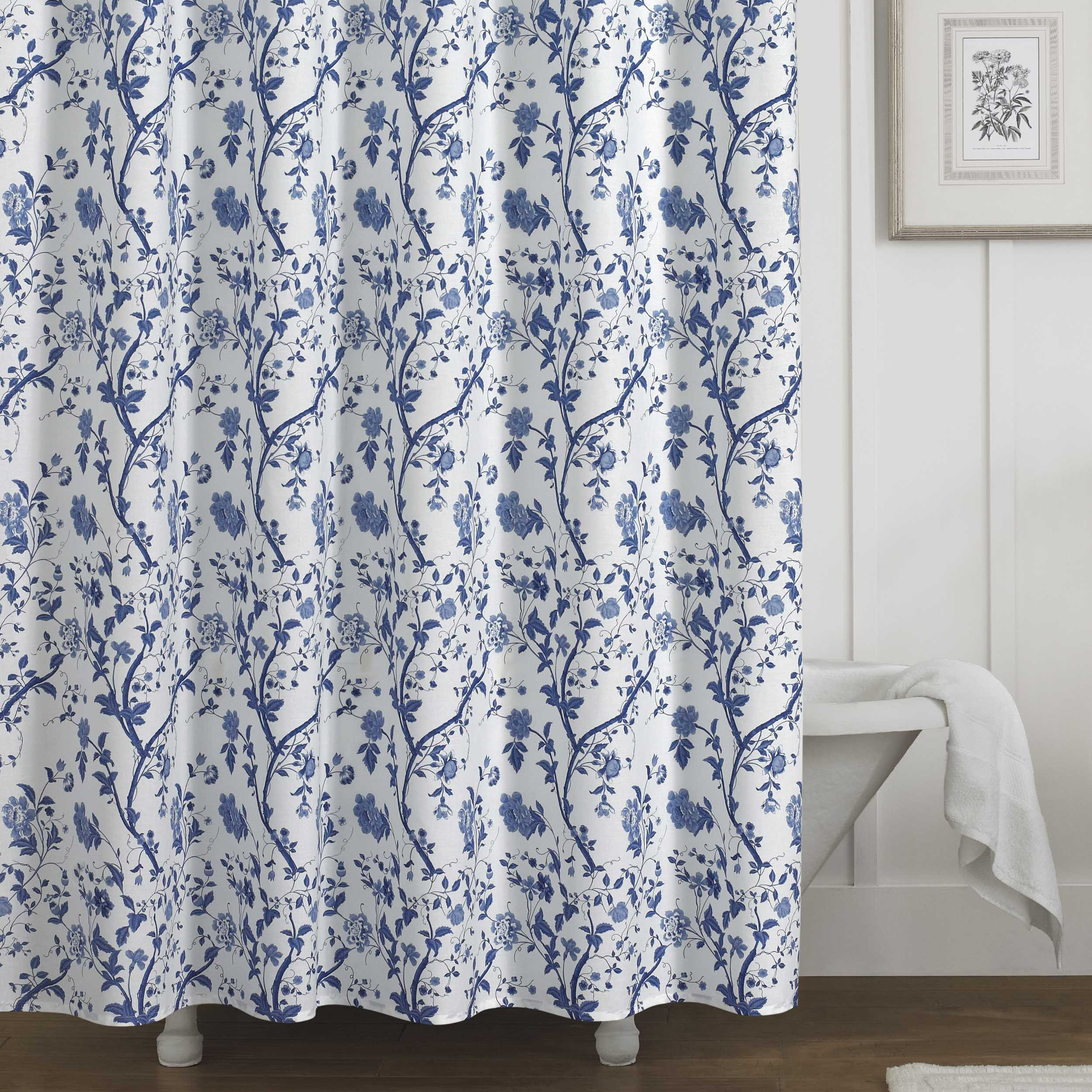 Laura Ashley Charlotte Shower Curtain, Blue