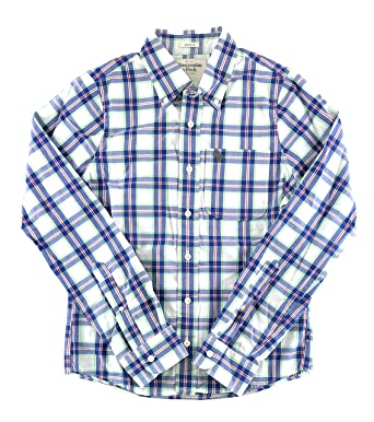 7e83a8d0b6f0 Abercrombie & Fitch Mens Long Sleeve Plaid Shirt Small White Blue Red Green  0942