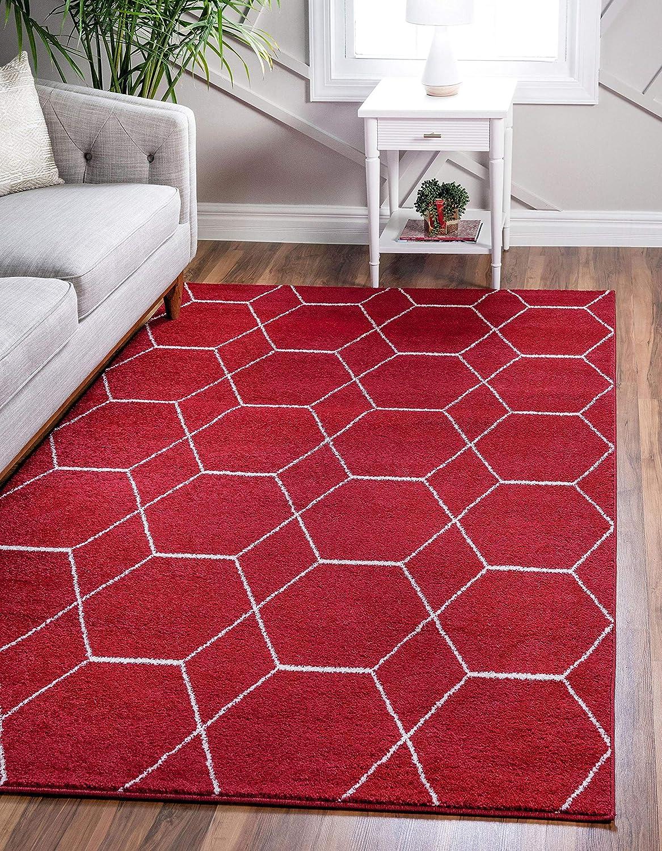 Unique Loom Trellis Frieze Collection Lattice Moroccan Geometric Modern Red Area Rug (4' 0 x 6' 0)