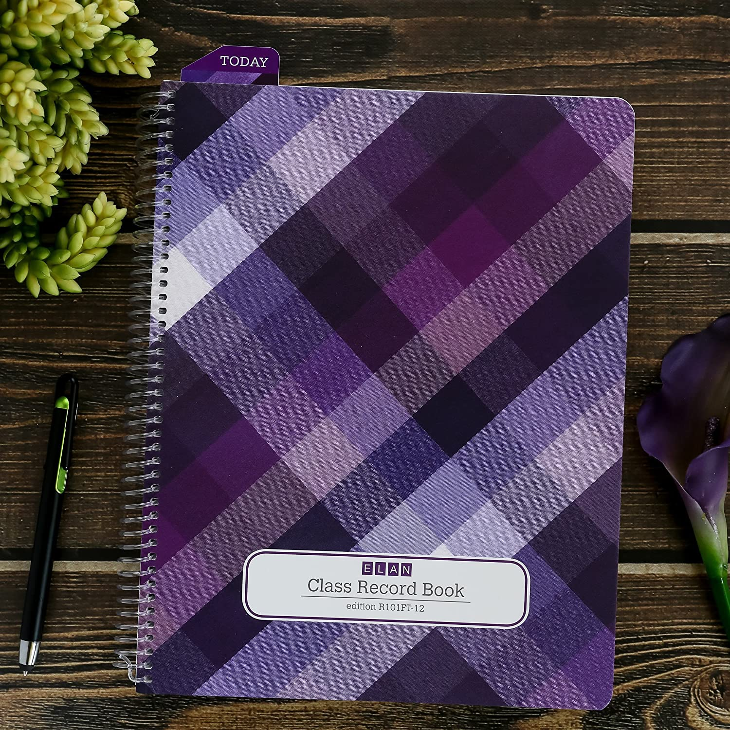 Amazon Class Record Book For 9 10 Weeks 50 Names R1010 Purple Plaid Office Products