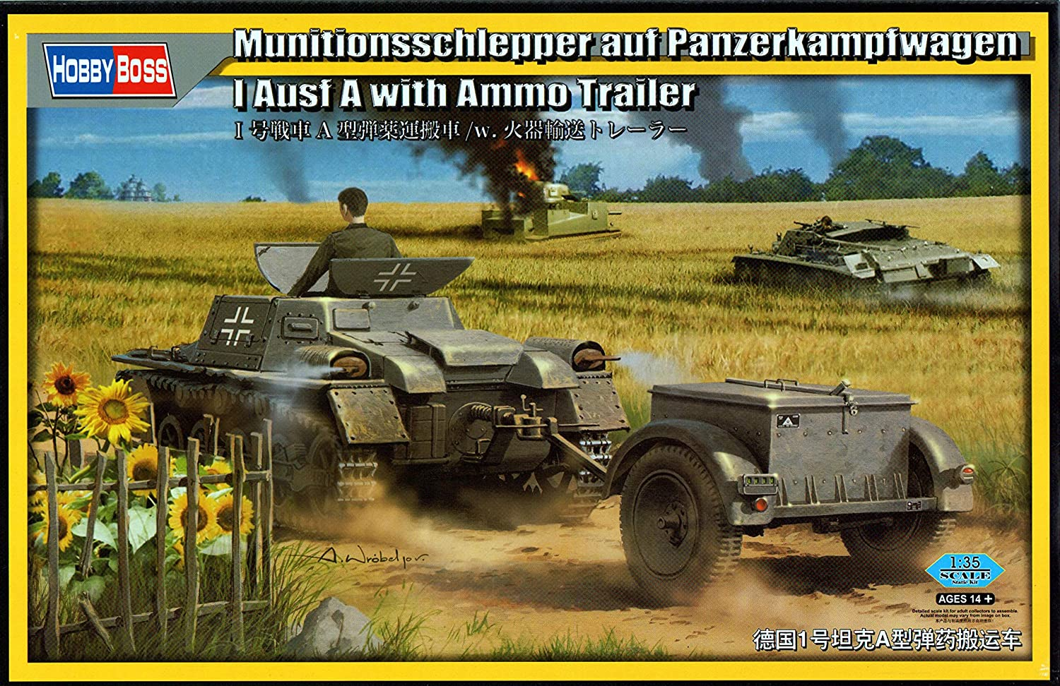 Hobbyboss 80146 1 35 Scale  Munitionsschlepper auf Pzkampfwagen I Ausf A with Ammo Trailer  Plastic Model Kit