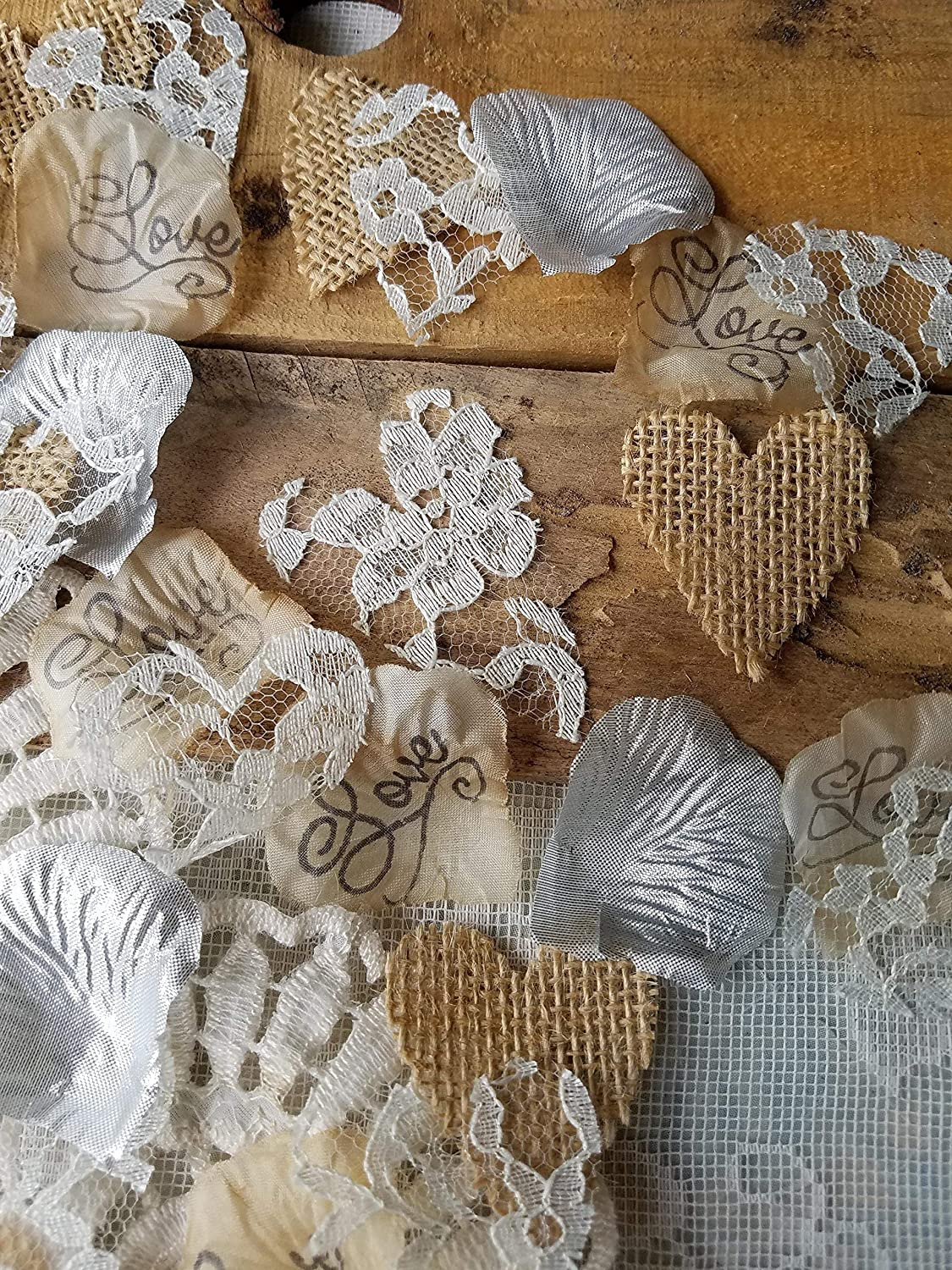 Burlap and Lace Rose Petals with Silver Artificial Petals, Rustic Wedding Decor, Table Scatter, by Burlap And Bling Design Studio(250pcs.)