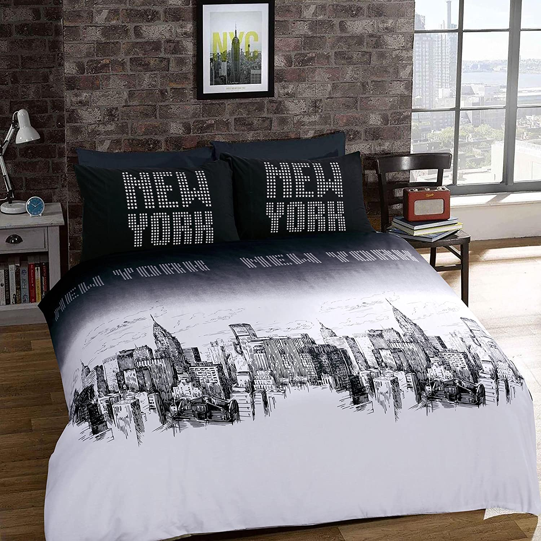 A&R Parure de lit avec housse de couette et taies d'oreiller au design exclusif en différentes tailles, Polycoton, new york, King