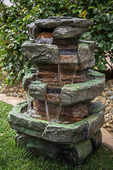Amazon.com : Wilson Rock Fountain: Stunning Outdoor Water Feature For  Gardens U0026 Patios. Weather Resistant W/LED Lights U0026 Pump. : Garden U0026 Outdoor