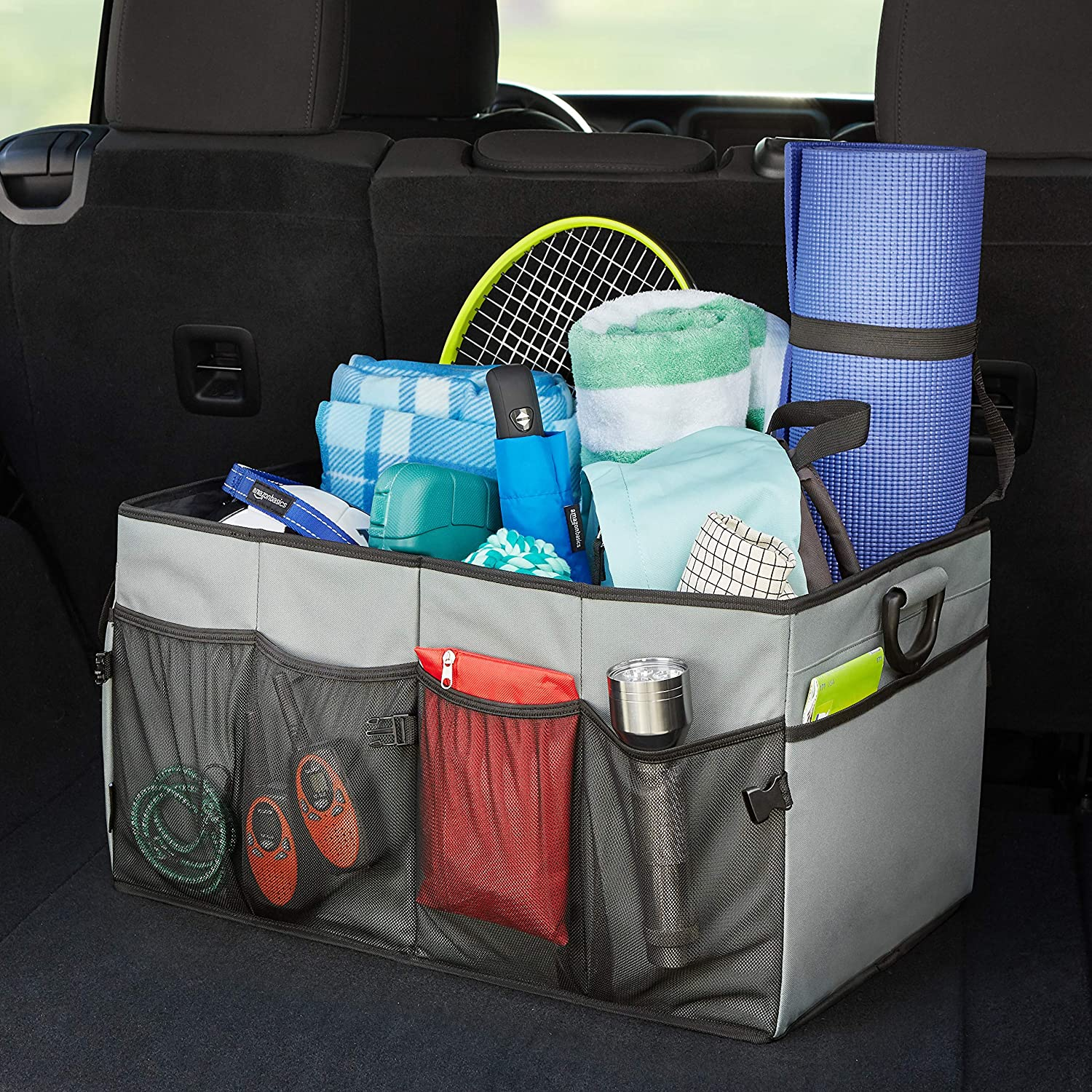 SUVs Red and Trucks Basics Foldable Cargo Trunk Organizer for Cars
