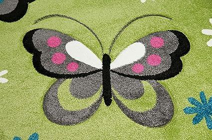 CARPETIA Kinderteppich Spielteppich Kinderzimmer M/ädchen Teppich Schmetterling Weiss pink Gr/ö/ße 160x230 cm
