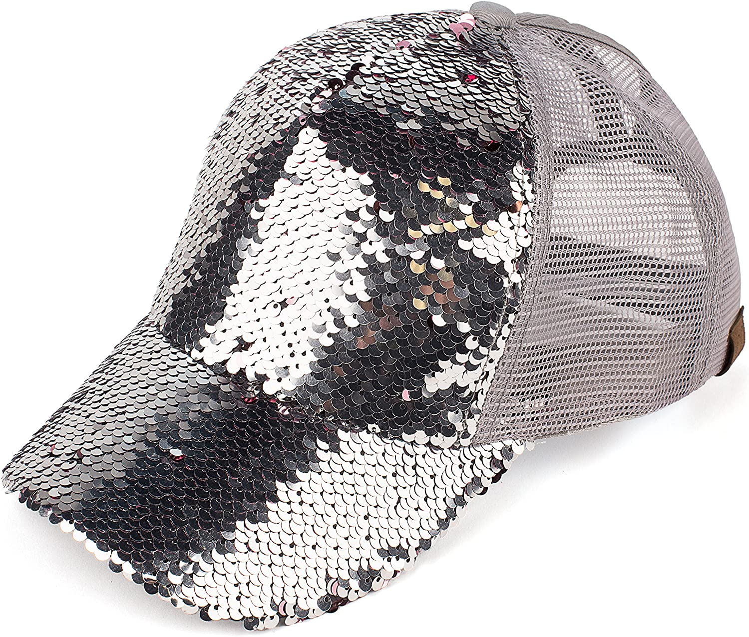 C.C Hats Magic Sequin-Covered Pony Tail Trucker Cap (BT-723)