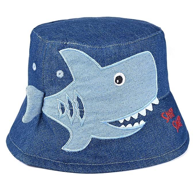 d7a4a8f9 Amazon.com: accsa Toddler Kids Boy Bucket Hat Novelty Animal Denim Shark  Brim Hat Summer Beach UPF Sun Protection Age 4-7Y: Clothing