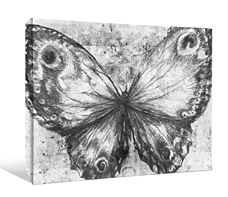 JP London BWMCNV2253 2quot Thick Heavyweight Black White Gallery Wrap Canvas Grunge Butterfly Tween